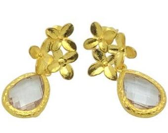 Alexandrite stone earrings, June birthstone earrings, Crystal gold earrings, Bridal earrings,Gifts for her, Cherry blossom teardrop earrings