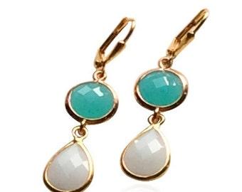 Aqua mint and white teardrop dangle earrings, Green and white stone drop earrings, Mint green crystal drop earrings, Aqua wedding jewellery