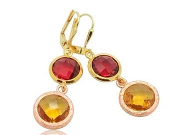 Garnet birthstone crystal drop earrings, January birthstone Jewelry, Red drop earrings, Yellow crystal earrings, Citrine birthstone earrings