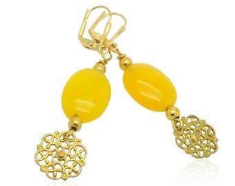 Gelbe jade Edelsteinohrringe, Naturstein Tropfen Ohrringe, Weihnachtsgeschenke, Geschenke für Mama, Gold filigrane Anhänger Ohrringe für Sie