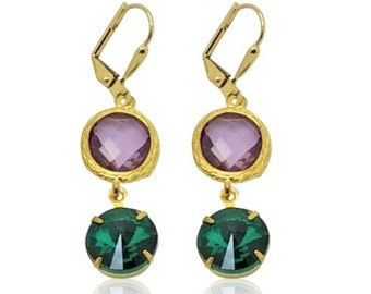 Purple amethyst and green crystal earrings, Green and purple bridesmaid Earrings, bridal drop earrings, Bridesmaid Gift, wedding Jewellery