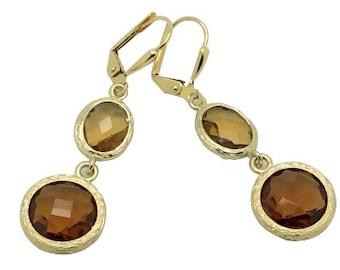 Whiskey Topaz Drop Earrings, Gold Quartz Crystal Earrings, Gold Wedding Jewellery, Gift for Her Honey Gold Bridal Earrings, Gifts for mom