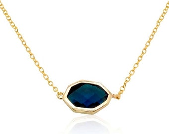 Blue Sapphire Dainty Gold Necklace, Christmas Gifts for Mom, Birthday Gifts for Her,Bridal Gold Jewellery, September Birthstone Mom Necklace