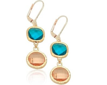 Peach and turquoise blue bridal earrings, Champagne and rose gold earrings, peach crystal dangle earrings, Rose gold bridal jewellery