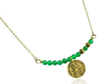 Green jade necklace, Antique gold coin necklace, Green gemstone bar pendant necklace, Gold chain necklace, Vintage gold necklace for women
