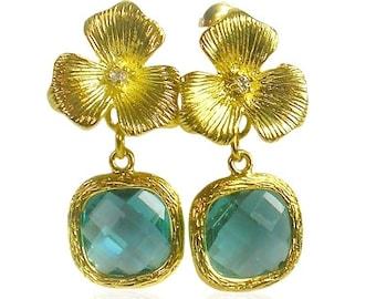 Aquamarine crystal earrings, Aquamarine jewellery, Wedding flower earrings, Gold drop earrings,Bridesmaid earrings, March birthstone Jewelry