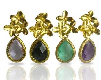 Amethyst Bridal Earrings, Handmade Birthstone Wedding Jewellery, Gold Cherry Blossom Earrings, Bridal Party Gift, Teardrop Crystal Earrings