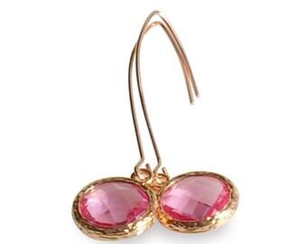 Kristall Perlen und Rose Gold Earrins, rosa November Birthstone Tropfen Ohrringe, lange Rose Gold Ohrringe rosa, rosa Braut Hochzeitsschmuck