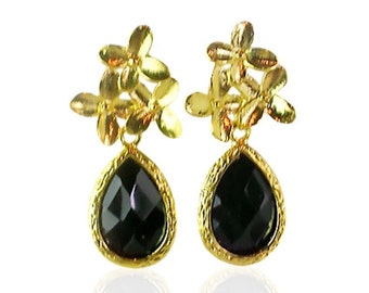 Gold Cherry Blossom and Black Crystal Teardrop Earrings, Black Glass Gem Post Earrings, Black and Gold Wedding Jewellery, Bridal Party Gift