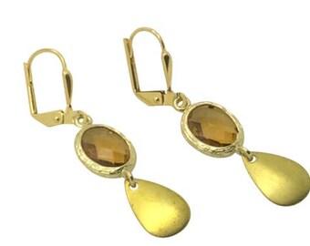 Topaz stone teardrop earrings, November birthstone gold earrings, Bridesmaides Earrings, Gifts for mom, Delicate honey crystal earrings,