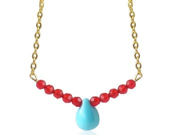 Red Jade and aqua teardrop pendant necklace, Red aqua gold gemstone bar pendant necklace, Unique bridesmaid gift, Christmas girlfriends gift