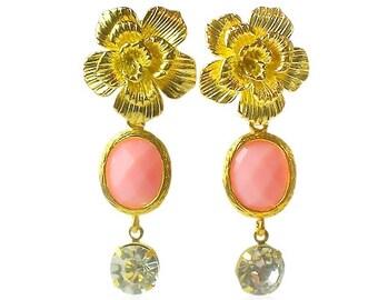Coral pink gems gold earrings, Gold flower earrings, Peach pink bridal Jewellery, Gifts for girlfriend, Gold statement long wedding earrings