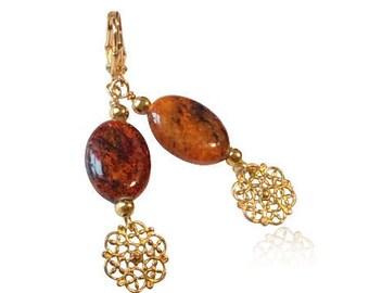 Phoenix-Jaspis-Edelstein-Ohrringe, Gold filigrane Blume Anhänger Ohrringe, Geburtstagsgeschenke für Mama, lange Ohrringe, Weihnachtsgeschenke für Freundin