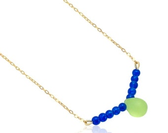 Blue Jade gemstone and yellow teardrop pendant necklace, Gemstone Bar Pendant gold necklace, Blue and gold jewellery, Gift for girlfriend