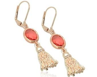 Rose gold quastenohrringe, Rose gold Brautschmuck, besten brautjungferngeschenke, rosa Kristallohrringe, Ohrringe, besten Hochzeiten Geschenke