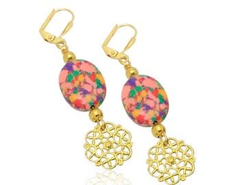 Regenbogen Türkis Edelsteinohrringe, Weihnachtsgeschenke für Vintage-Stil-Ohrringe, Weihnachtsgeschenke für Mama, Freundin, Geburtstagsgeschenk für Mo,
