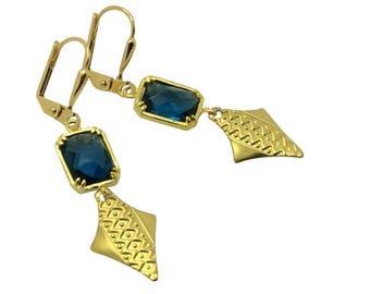 Blue sapphire earrings, Geometric gold arrowhead earrings, September birthstone earrings, Bridesmaids gifts, Graduation gift, Gift for her