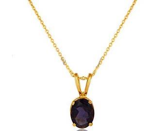 Lolite Edelstein Halskette, zarte 18K Gold, Lolite Schmuck, Naturstein Lolite Halskette, Geschenke für Freundin, Geschenke für Mama