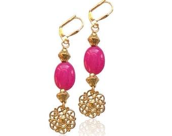 Rosa Rubin Jaspis Edelsteinohrringe, natürlichen Stein Ohrringe, valentinsgrußgeschenk für sie, Geschenk für Mama, Geburtstagsgeschenke für sie, Braut Ohrringe