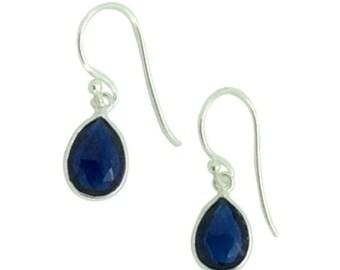 Blue Corundum gemstone and silver teardrop earrings, Bridal party earrings, birthday gift for mum, Delicate earrings, Gift for girlfriend