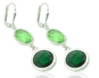Emerald and lime green silver earrings, Green crystal gems and silver drop earrings, Christmas gifts for mom, Green and silver jewellery,