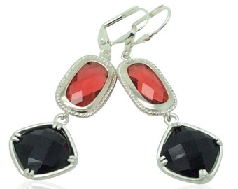Black and red geometric crystal drop earrings, Handcrafted silver and crystal earrings, Present for wife, Valentine gift for girlfriend