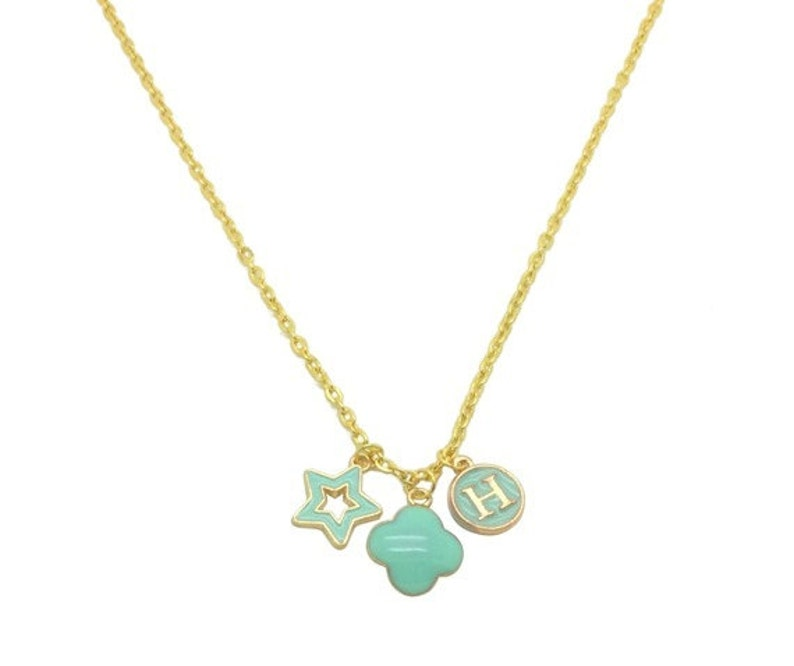 Mint Enamel Monogram Pendant Necklace Graduation Gifts For Her Gold Star Charm Women Necklace With Initials Necklace For Girlfriend