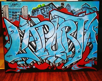 118f2bf5e096 Custom name   word graffiti street art stretched canvas original painting - large  artwork gift (up to 6 x6 ) - FREE SHIPPING