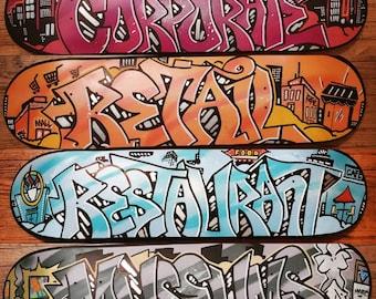 Custom Graffiti Skateboard Deck Buy 3 Get 1 Free Bulk Custom Wall Art Personalized Gift Name Street Art Original Painting