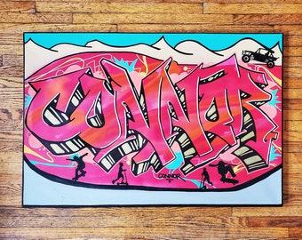 Custom Graffiti Canvas Personalized Name Sign Wall Art Hangable Street Art Original Large Wall Art Gift