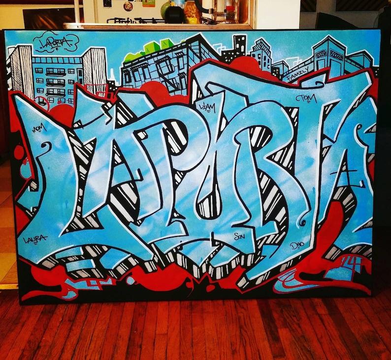 Custom name / word graffiti street art stretched canvas original painting ,  large artwork gift (up to 6\u0027x6\u0027) , FREE SHIPPING