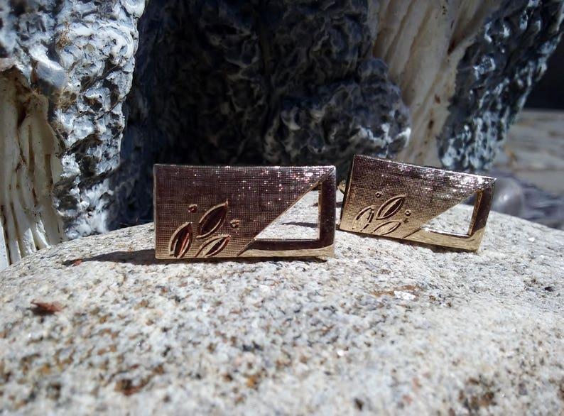 Diamond Cut Leaf Cuff Links Textured  Cut Out Gold Tone Cuff Links Vintage Swank Cuff Links Unisex Wedding Cufflinks