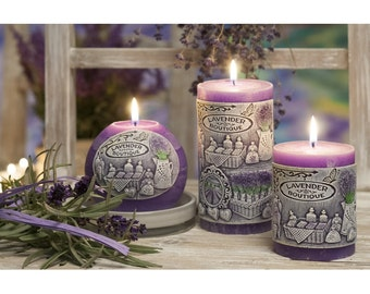 Scented Candles Set Lavender Boutique Set of 3 Pillar candles and  1 Ball Candle Gift for women Gift for mom Mother's day gift