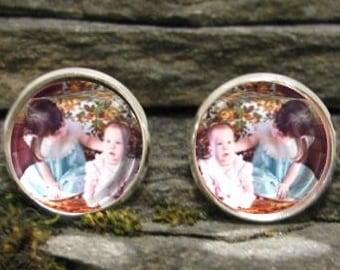Custom Photo Earrings, Personalized Dangle or Stud earrings, personalized earrings, picture earrings, custom earrings