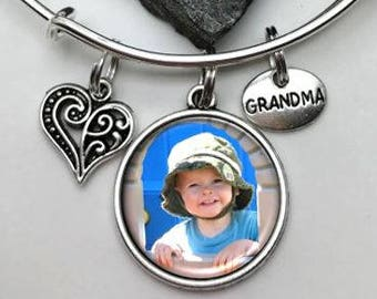 Grandma Bracelet, Photo Bracelet, Charm Bracelet, Grandmother Bracelet, Gift for Grandma, photo bracelet, picture bracelet