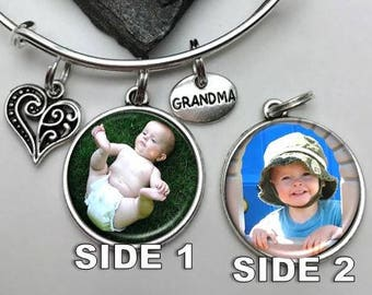 Two-sided Grandma Bracelet, Photo Bracelet, Charm Bracelet, Grandmother Bracelet, Gift for Grandma, picture bracelet