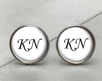 Initial Cufflinks, Monogram Cufflinks, Writing Cufflinks, any font or color, personalized cufflinks