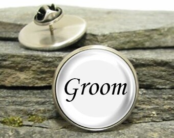 Groom Pin, Gold or Silver, Large or Small, Best Man lapel pin, Personalized Pin