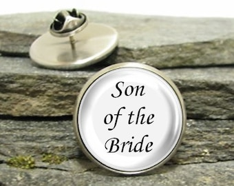 Son of the Bride Pin, Gold or Silver, Large or Small, Best Man lapel pin, Personalized Pin