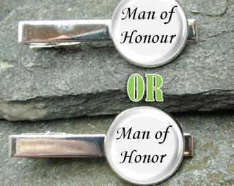 Man of Honor Tie Clip or Man of Honour Tie Clip Gold or Silver Tie Clip