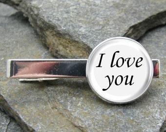 I love you Tie Clip, Gold or Silver Tie Clip, I love you Tie Bar