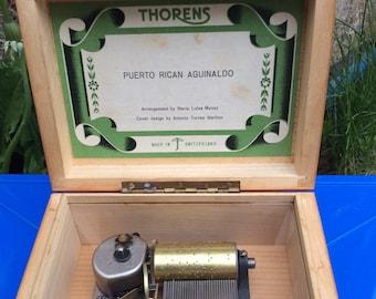 Vintage Music Box ON SALE, Swiss Thorens Music Box, Switzerland Music Box, Musical Box, Wind Up Music Box, Puerto Rican Aguinaldo, Munoz