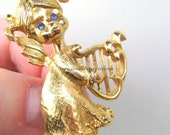 Angels Cherub Harp Brooch Pin Vintage Jewelry Gold Plated Blue Eyes Rhinestones Baby Girl Christmas Easter Mothers Day Music Angel Wing