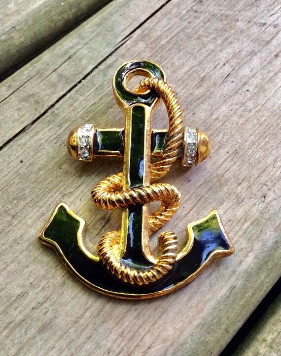Vintage Anchor Wheel Ship Nautical Cloak Cape Pin Brooch Steampunk