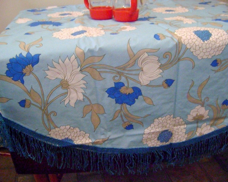 Vintage Mod Vinyl Tabelcloth Laminated Fabric Backing Padded Blue Teal Grey  Fringes Retro TableCloth Kitchen Free Shipping Sale Picnic Table