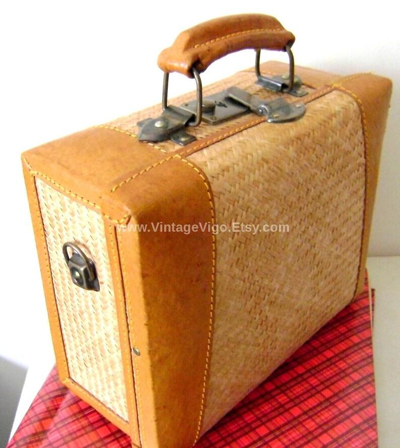 Steamer Trunk Luggage Vintage Brass Weave Rattan Train Travel Cosmetic  Toiletries Treasure Chest Jewelry Photos Handbag Storage Case