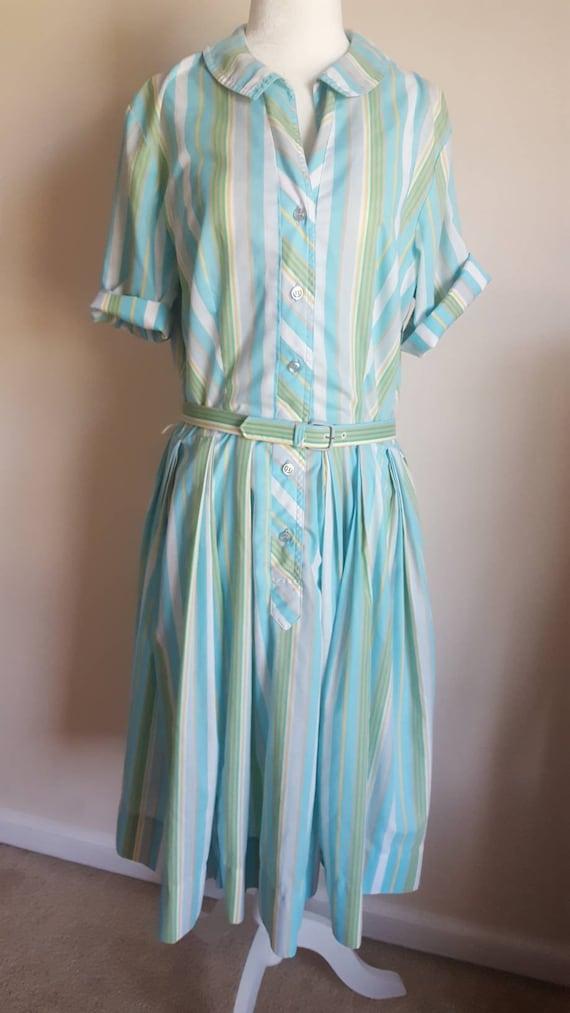 Vintage 50s Rockabilly Georgia Griffin Striped Blu