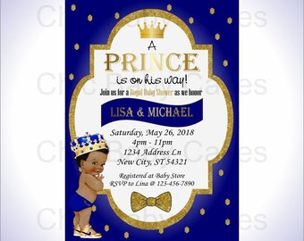 Prince baby shower invitation etsy royal blue gold prince baby shower invitation digital invitations printable baby shower invitations for boy black hair filmwisefo