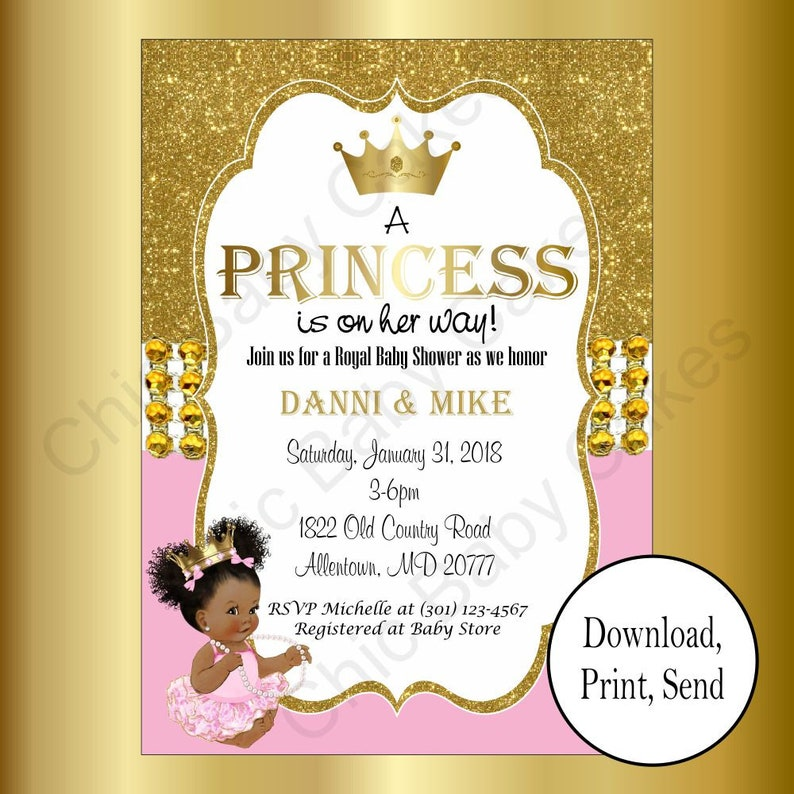 image regarding Printable Gold Card Application Harris County identify Printable Crimson Gold Princess Child Shower Invitation, A number of Little one Female Hues, Electronic Invites, Woman Kid Shower Invites