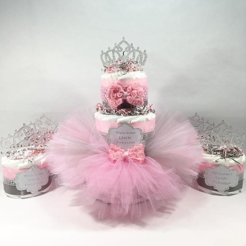 Remarkable Pink Silver Princess Tutu Diaper Cake Centerpiece Set Etsy Funny Birthday Cards Online Amentibdeldamsfinfo